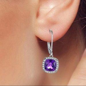 Amethyst earrings 925 Silver setting NIP
